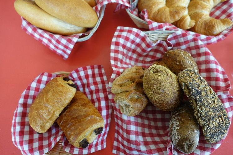 breakfast Loaf Of Bread Picnic Basket Bread Italian Food French Food Tablecloth Checked Pattern Baguette Basket Bun Sweet Bun