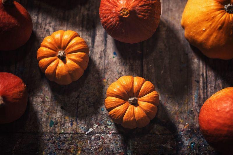 Pumpkin Vegetable Orange Color Fruit Freshness Healthy Eating Wood - Material Food Autumn Table Brown Squash - Vegetable No People Vegetarian Food