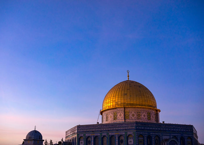 View of masjidil aqsa mosque against clear blue sky in palestine