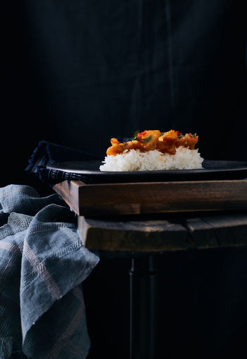 Stir fried chilli fish with rice. Asian  Asian Food Food Food And Drink Foodphotography Thailand Thaifood Darktone Fish Chilli Stir-fried Still Life Foodstyling Rice