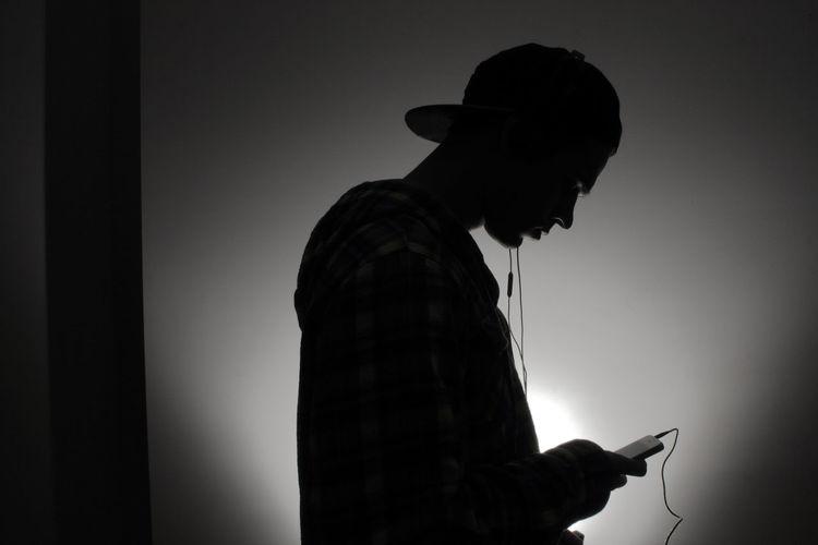 Art Blackandwhite Hat Headphones Headphones On  Music Phone Silhouette