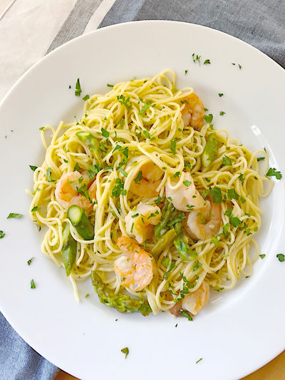 Pasta with shrimp and asparagus Asparagus Cilantro Day Dinner Dish Towel Healthy Eating Home Cooking Homemade Food Indoors  Lunch Meal Natural Light No People Overhead Pasta Phone Camera Plate Ready-to-eat Savory Seafood Shrimp Tasty Textures Vegetables Vermicelli