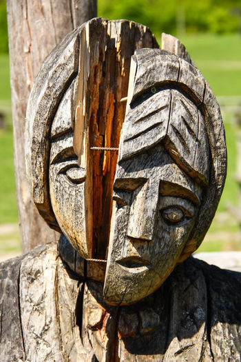 broken idol Aged Antique Art Broken Carved Carved Wood Cracked Craft Emotions Ethnic Focus On Foreground Historical Idol Old Religious  Rustic Slavic Vintage Wood - Material Woodcraft Wooden Headache Woe Bifurcation