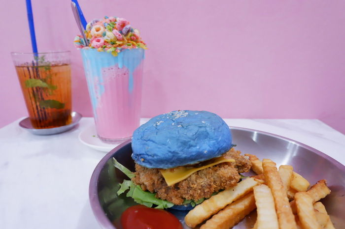 Burger Fries Milkshake Colorful Drink Drinking Glass Fast Food Food Food And Drink Freshness No People Plate Ready-to-eat Table Unhealthy Eating