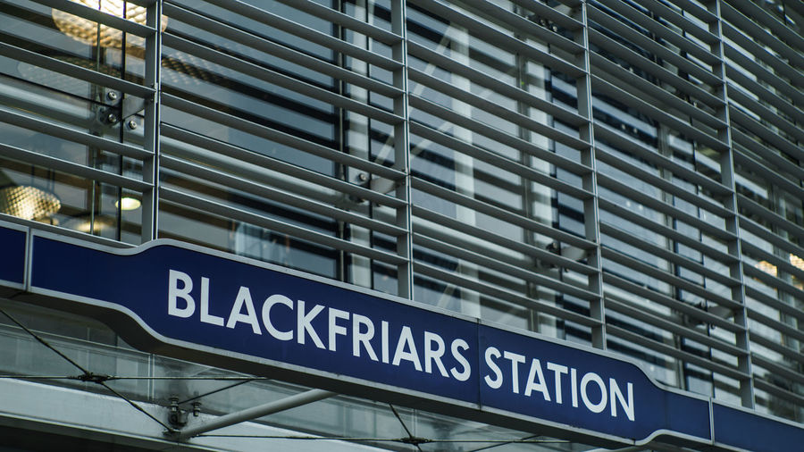 Blackfriars London Sign Station Tube Underground Station  Architecture Building Exterior Built Structure Day No People Text Train Station Transportation Transportation Building - Type Of Building Travel EyeEm LOST IN London Mobility In Mega Cities