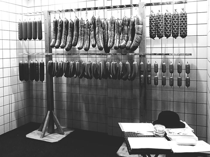 Sausages Hanging At Butcher Shop