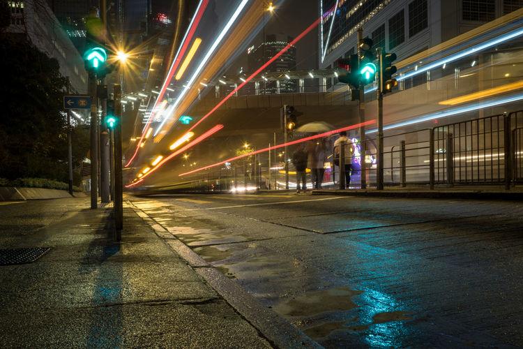 Rainy night in Hong Kong. China City City Life City Lights Hong Kong Light Trail Long Exposure Motion Night Outdoors Rain Rainy Days Rainy Night Road Speed Street Transportation Wet Street