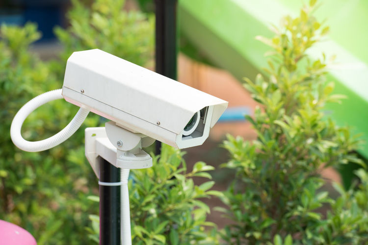 Close-Up Of Security Camera Against Plants