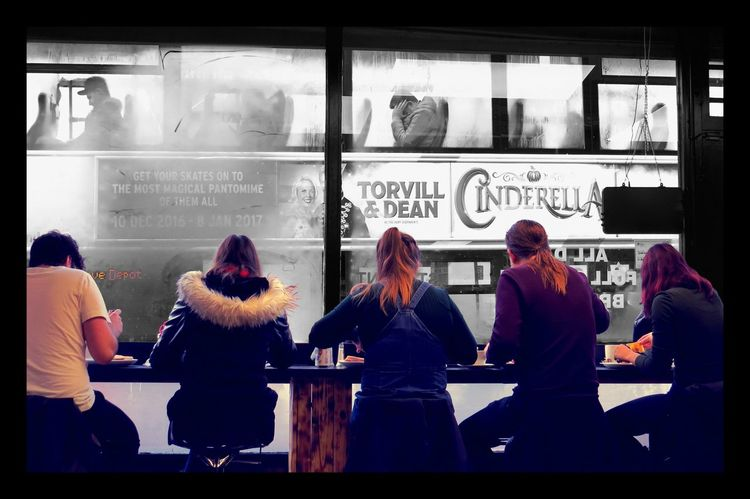 Adult Adults Only Bristol, England Bus Bus Passengers Colour And Black And White Day Fast Food Restaurant Friends Friendship Grey Day Indoors  People Standing Window Winter Young Adult Young Men Young Women
