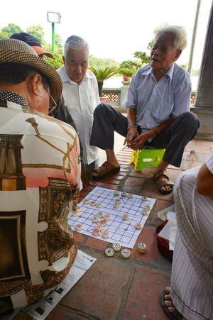 Senior Men Togetherness Lifestyles Social Gathering Vietnam Hanoi Chess Chinese Chess