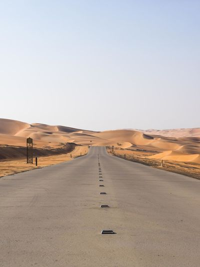 Infinity. Clear Sky Day Desert Landscape Outdoors Perspective Sand Dune Scenics