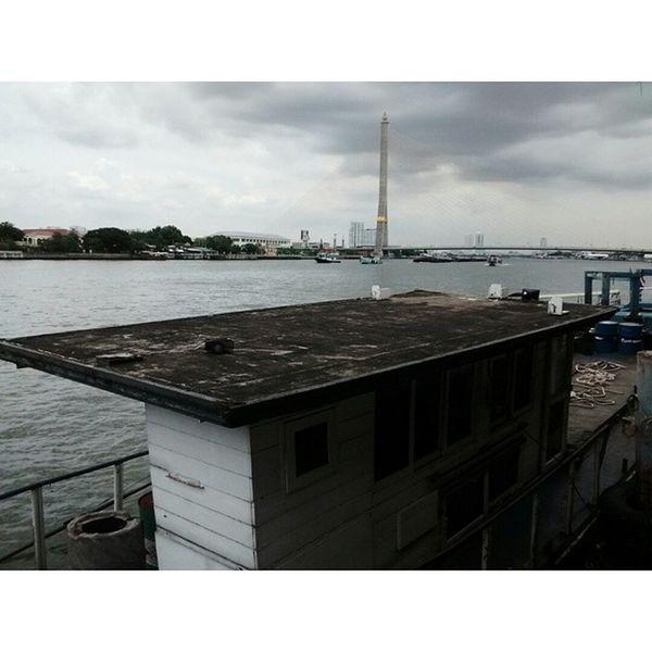 another cloudy day on the river. Rainyseason Bangkok Chaophraya River thailand samsen pier