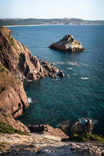 Southern part of the coastal stacks of nebida sardinia