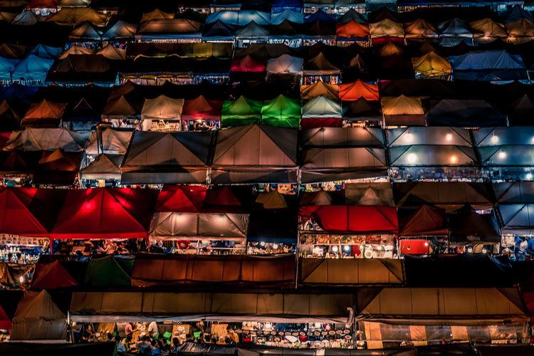 Aerial view of illuminated market at night