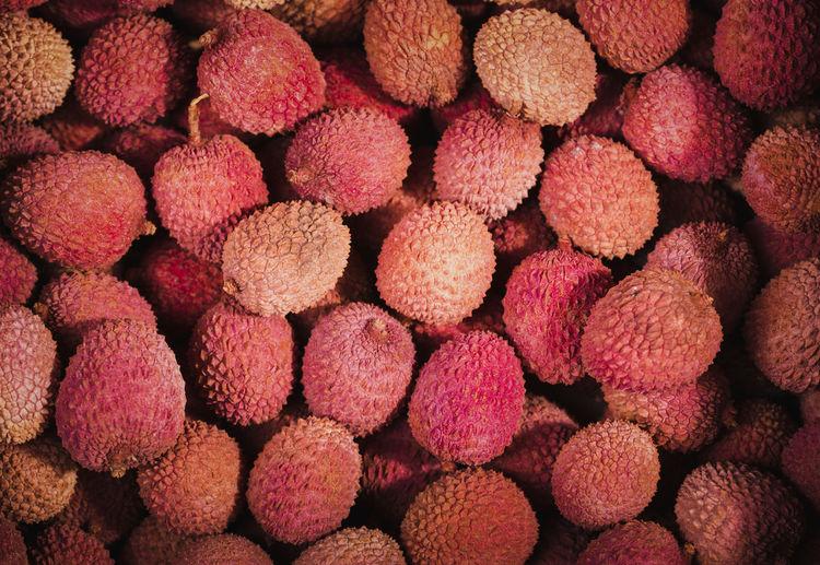 Full frame shot of lychees