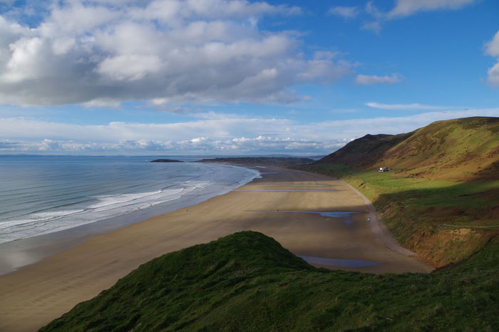 Aerial View Amazing Beach Beauty In Nature Best Beach Cloud - Sky Day Horizon Over Water Landscape Nature No People Outdoors Rhossili Bay Sand Dune Scenics Sea Sky Wales Welsh