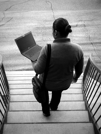 One Person Full Length Rear View Steps Staircase Standing Steps And Staircases Real People Day People Outdoors Adult Adults Only One Man Only Only Men Working Hard Working Hard Working Women Overtime Job Work Black And White Black & White Blackandwhite