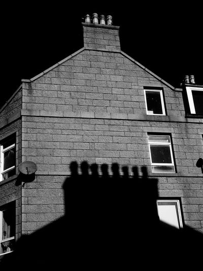 Architecture Building Exterior Low Angle View Shadow Outdoors No People Aberdeen Granite Chimney Stacks Chimney Pots ShadowsMonochrome Photography Cast Shadows Mono Monochrome Mono