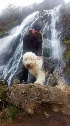 Waterfall Oldenglishsheepdog Dog Mananddog Water One Person Motion Only Men One Man Only Day People Adult Outdoors Men Adults Only Real People Portrait Nature Sky Young Adult Nature