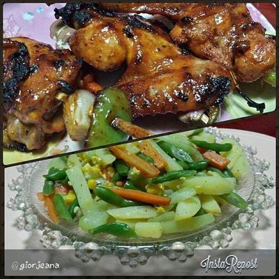 Blanched veggies tossed with butter and herbs + Spicy chicken bbq for dinnerrr...RatedPG Pataygutom ! Foodporn