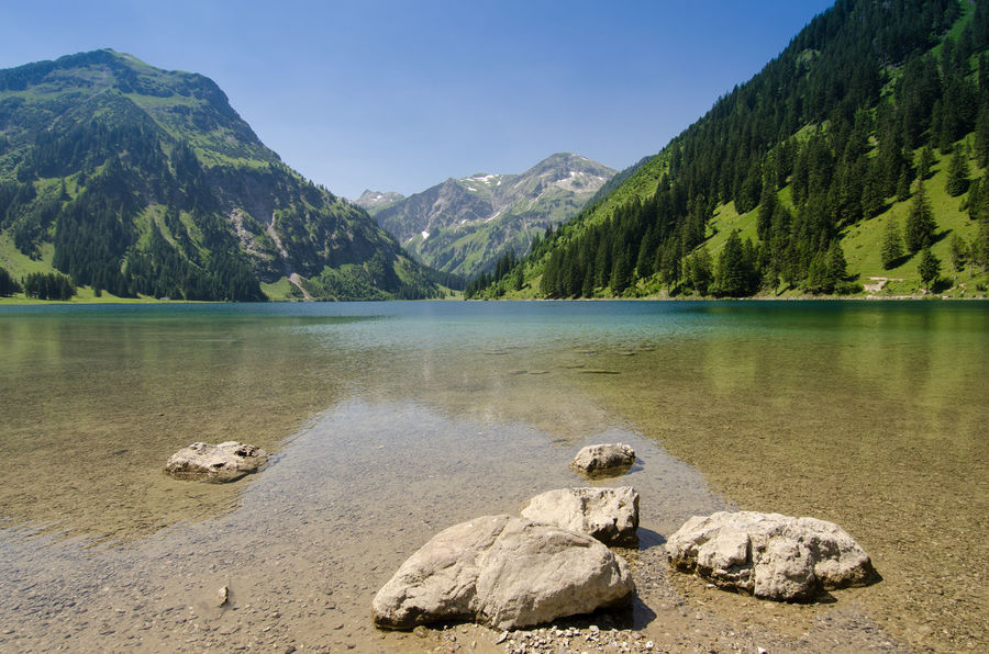 Lake Vilsalpsee in Tannheimer Tal Tyrol in Austria Austria S Summertime Tannheimer Tal Beauty In Nature Day Lake Lake View Landscape Mountain Mountain Range Nature No People Outdoors Physical Geography Rock - Object Rocks Scenics Sky Tranquil Scene Tranquility Tree Tyrol Vilsalpsee Water