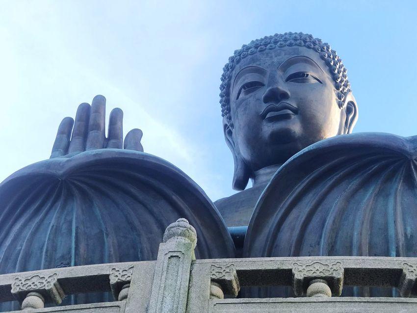 Statue Sculpture Spirituality Religion Human Representation Low Angle View No People Day Place Of Worship Outdoors Built Structure Architecture Sky Close-up Ngongpingvillage HongKong Big Buddha Tian Tan Buddha (Giant Buddha) 天壇大佛
