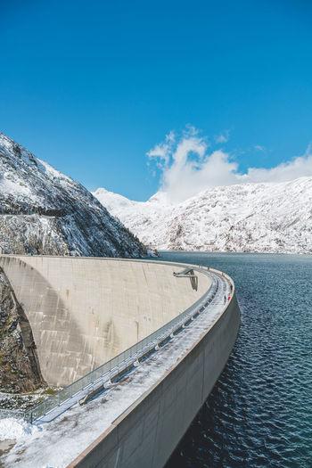 High alpine dam and reservoir lake kölnbreinsperre, malta, austria