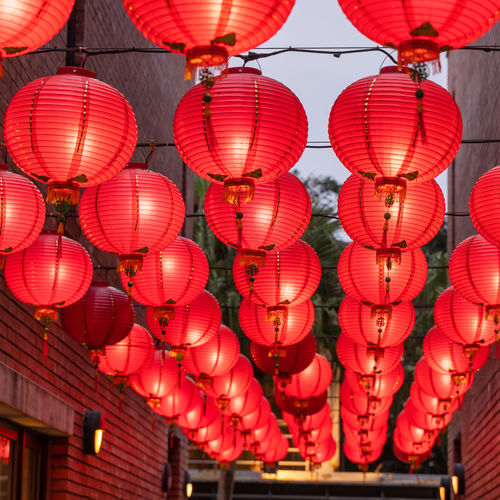Low angle view of lanterns hanging on ceiling