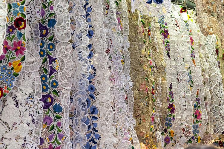 Full Frame Shot Of Fabrics For Sale At Street Market