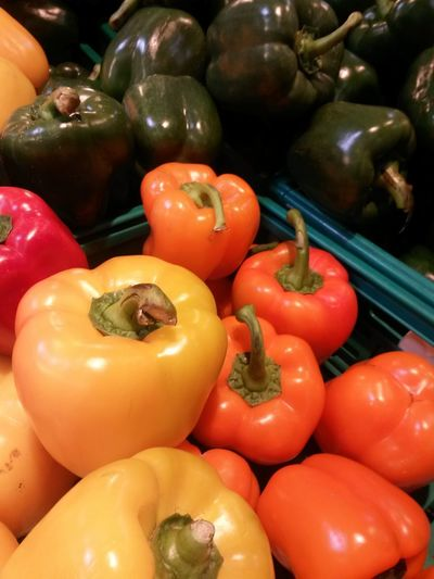 Vegetable Healthy Eating Freshness Food Red Bell Pepper Supermarket Retail  Market Yellow Yellow Peppers Orange Pepper Visual Feast