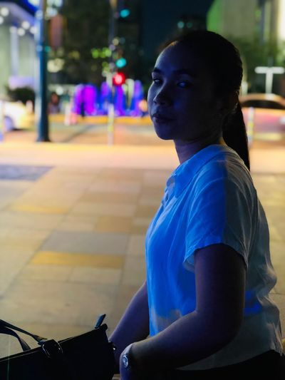 A girl waiting for her man ❤️ One Person Sitting Focus On Foreground Real People Leisure Activity Side View Women Street Night Waiting City