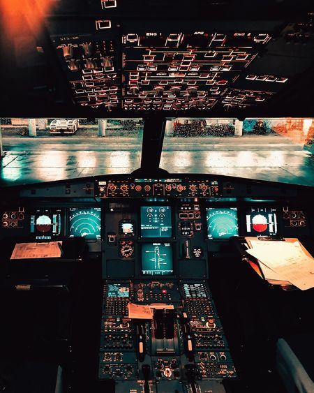 View of airplane at night