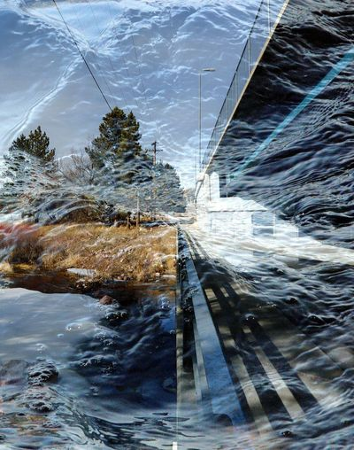Double exposure of snow melt and bridge in Lusk Wyoming Abstract Bridge Sun Shadow Outdoors Day Winter March 2018