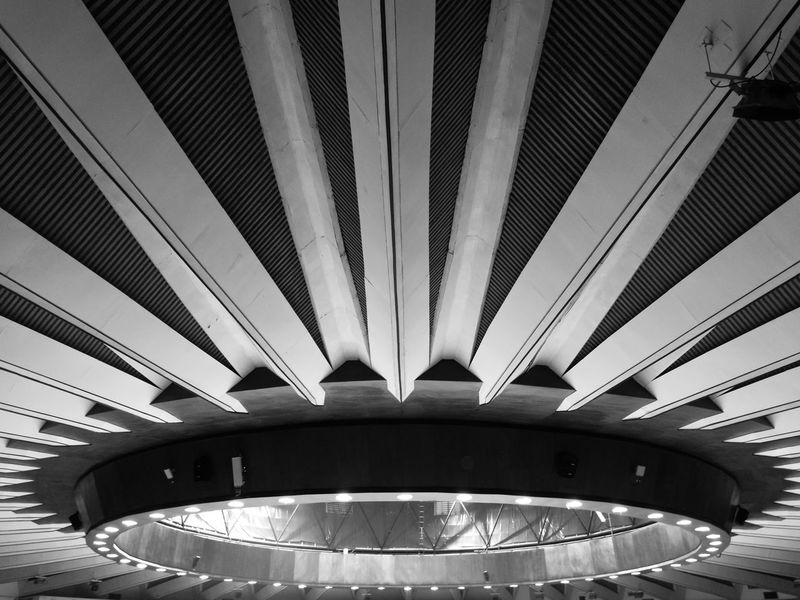 Architecture Built Structure Ceiling Modern Indoors  No People Curve City Illuminated Day Futuristic HuaweiP9 Shadow And Light Huaweiphotography Shadow Black & White Black And White Blackandwhitephotography Indoor Stadium Huamark Bangkok Thailand.