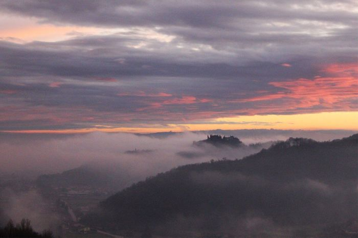 Marostica and his upper castle. 1 January 2018 Medievalcity Vicenza Visitveneto Veneto Marostica Castle Beauty In Nature Nature Tranquil Scene Tranquility Scenics Sunset Sky Landscape Silhouette Shades Of Winter