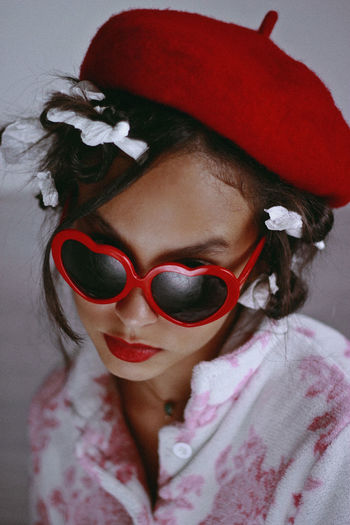 Lolita's Life: Home Alone Makeup Retro Beret Cap Celebration Childhood Close Up Close-up Clown Day Eyeglasses  Girl Indoors  Lifestyles One Person Portrait Portrait Photography Real People Red Sunglasses Teenager Vintage Wearing Young Adult Young Women
