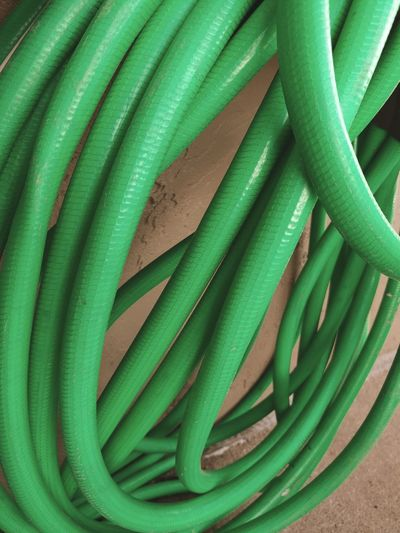 Green Color Backgrounds Full Frame Close-up No People Freshness Day Hose Green Tangle Messy Water Hose Texture