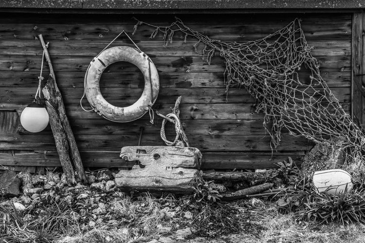 A random collection from sea. Abandoned Bad Condition Black & White Black And White Blackandwhite Close-up Detail Deterioration Driftwood Lifering Monochrome Obsolete Old Rope Rusty Textured  Wood