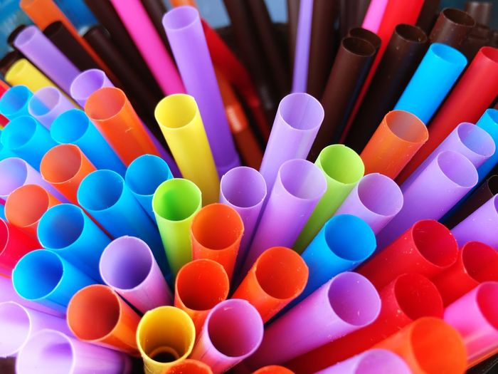 Colourful plastic straws. Plastic Banned Single Use Plastic Waste Pollution Multi Colored Large Group Of Objects Close-up Straw Drinking Straw