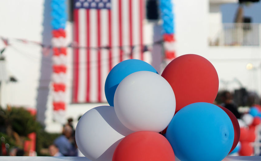 Balloons against american flag