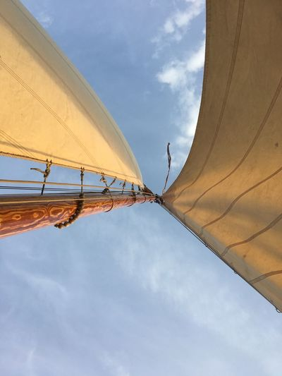 Sailboat Botter at the Eem lake. Blue Cloud - Sky Day Low Angle View Mode Of Transportation Nature Nautical Vessel Outdoors Pole Sailboat Sky Sunlight Textile Transportation Yellow