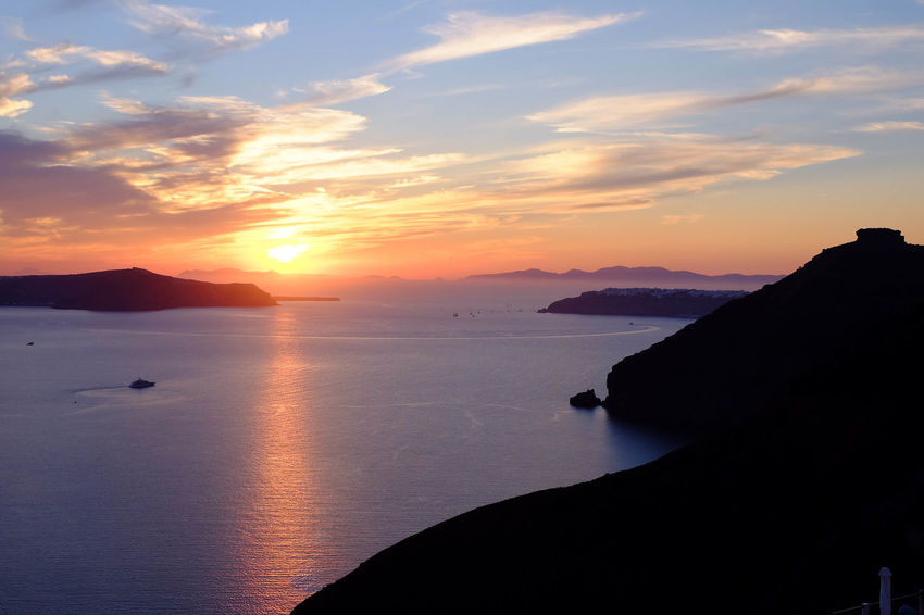 Beauty In Nature Cliff Cloud Greece Hill Horizon Over Water Island Nature No People Outdoors Reflection Santorini Scenics Sea Silhouette Sky Sunset Tranquility Travel Water