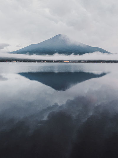 Shot of mount fuji and lake kawaguchi