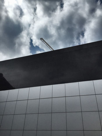 Architecture Black Wall Building Exterior Built Structure Cloud - Sky Crane - Construction Machinery Day Facade Building Fassadengestaltung Kran Low Angle View No People Outdoors Sky Minimalist Architecture