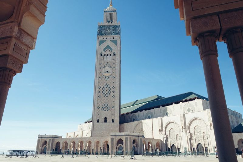 Hassan II Mosque Mosque Hassan 2 Architecture Built Structure Building Exterior Religion Spirituality Place Of Worship Arch Blue Clear Sky Tower Bell Tower - Tower Church History Tourism Tall - High Tall Façade Outdoors Sky Architectural Column Casablanca, Morocco