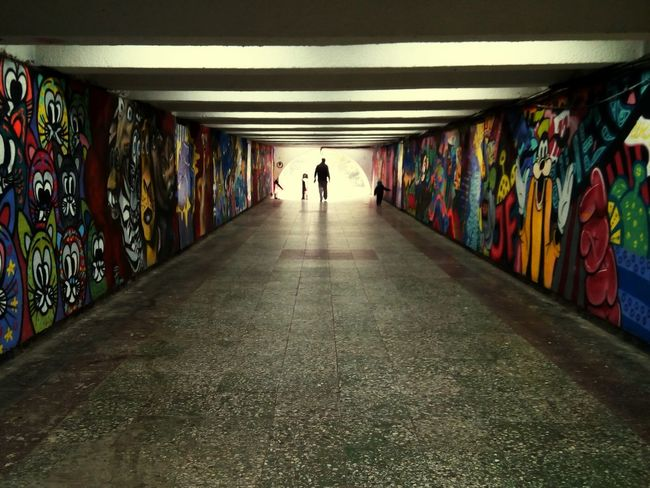 Hope Way Ahead Full Length City Multi Colored Silhouette Walking Built Structure Graffiti Tunnel Street Art Mural Underground Underground Walkway Passageway Light At The End Of The Tunnel Ceiling Light  Underpass