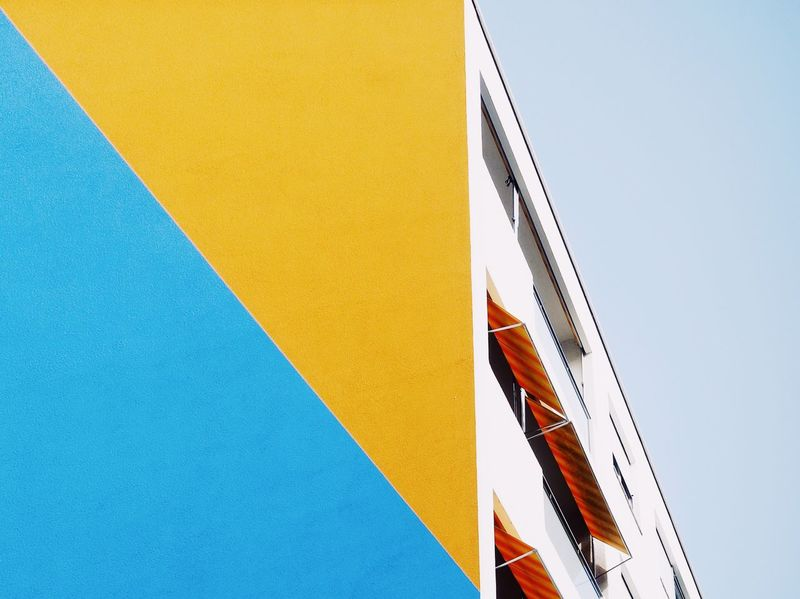 Yellow Low Angle View Blue Outdoors Clear Sky Multi Colored Sky Architecture Building Exterior Minimalism Colorblocking Urban Architecture Geometric Shape Minimalist Architecture Color at Basel, Switzerland The Architect - 2017 EyeEm Awards Paint The Town Yellow