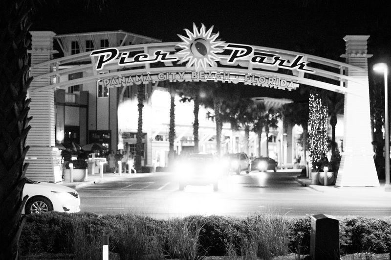 Nightphotography Pier Park Beach Black And White Florida Night Outdoors Transportation