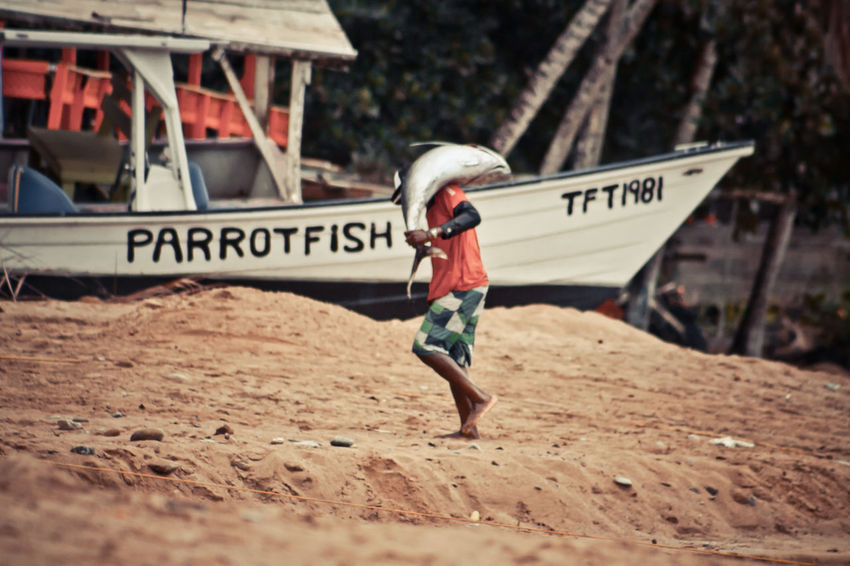 Boats⛵️ Castara Bay Fish Fisherman Fishing Village Freshfish One Person SEAFOOD🐡 Vintage Photo