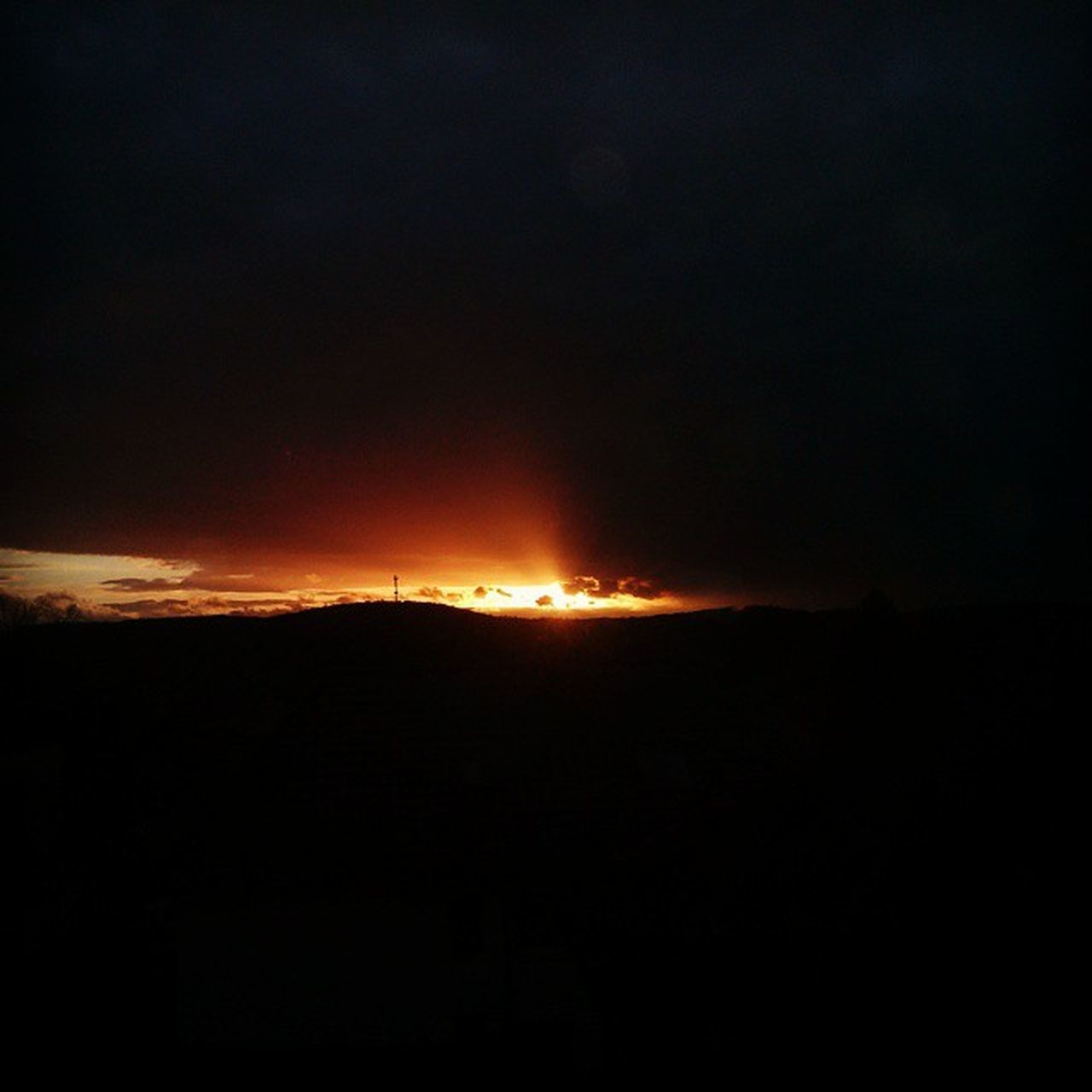 sunset, silhouette, nature, outdoors, night, no people, beauty in nature, scenics, sky, landscape, forest fire